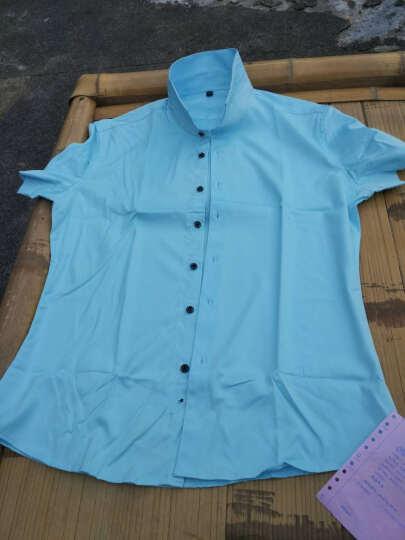后城 2017新款春季新款短袖衬衫男青年纯色衣服修身型韩版免烫休闲白衬衣 H5-1粉红 XL/40体重140斤以内 晒单图