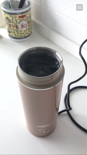 哈密斯(HAMISI)电热水杯出国旅行出差家用便携电热水壶烧水加热迷你小功率 中国红 300ML 晒单图