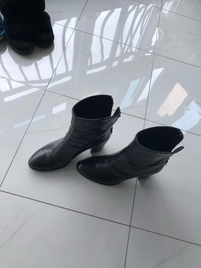 ECCO爱步秋冬欧美时尚花纹牛皮短靴 复古粗跟女鞋低筒靴 型塑 267653 黑色11001 39 晒单图