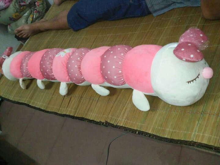 萌萌猪七彩毛毛虫双头彩虫靠垫抱枕儿童玩具公仔安抚毛绒玩具布娃娃 粉色双头毛毛虫 1.1米 晒单图