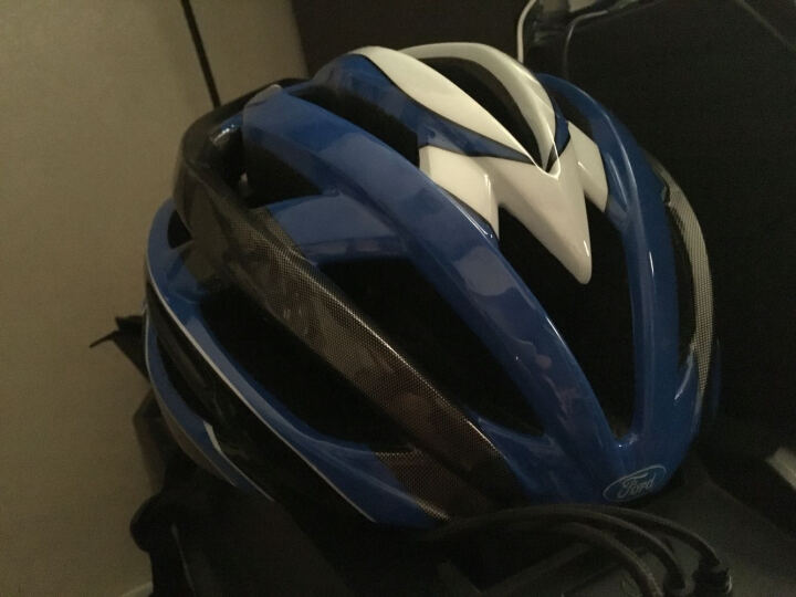 福特 头盔一体成型骑行头盔山地公路单车装备轻男女安全帽 带LED版USB充电 蓝色 晒单图
