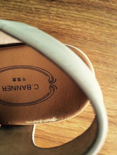 C.BANNER/千百度2016夏新品牛皮简约松糕跟厚底休闲凉鞋A6337808 白色 35 晒单图