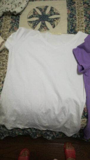 艾路丝婷2019夏装新款纯棉T恤女短袖V领上衣韩版修身纯色体恤衫TX3560 玫红色圆领 L 晒单图