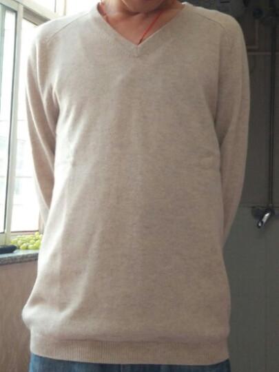 珍贝 秋冬新款 纯羊绒V领男士针织衫打底衫套头衫 TM122207M 咖喱色 S/(105#) 晒单图