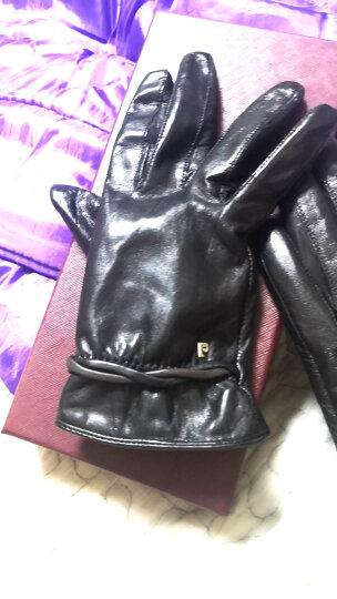 皮尔卡丹冬季女士皮手套真皮羊皮加绒加厚保暖手套女冬天开车骑车手套 款B厚绒里黑色 L(160-165CM) 晒单图