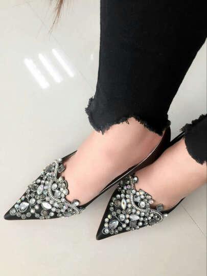 口口坊新款女鞋高跟尖头婚鞋时尚韩版水钻防水台细跟OL凉鞋夏高跟鞋 9196红色 36 晒单图