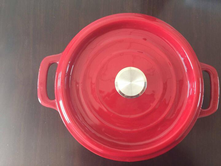 加厚铸铁珐琅锅24cm家用炖锅彩色搪瓷煲汤锅不沾焖炖锅燃气电磁炉通用 深红黑珐琅 24cm 晒单图