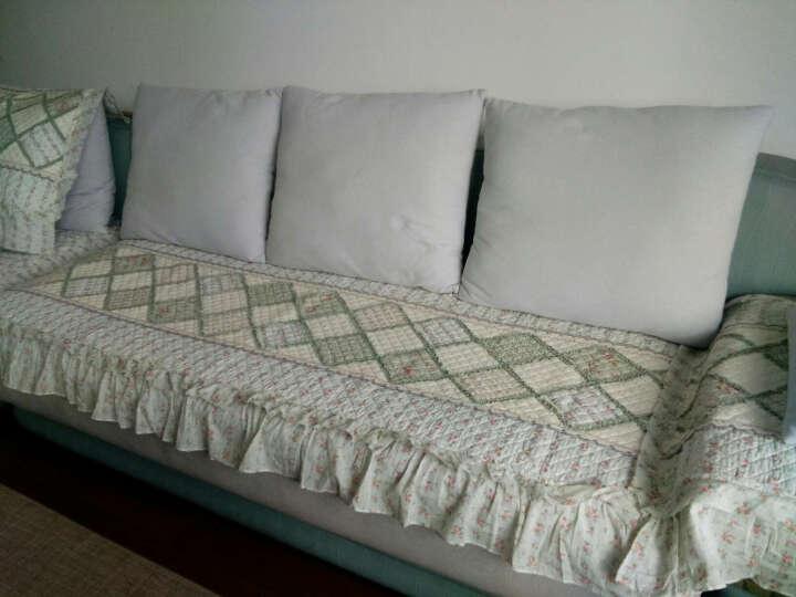 四季沙发垫套装全棉通用沙发坐垫简约现代绗缝沙发套沙发巾 初遇 粉红色 80+15花边*240cm 晒单图