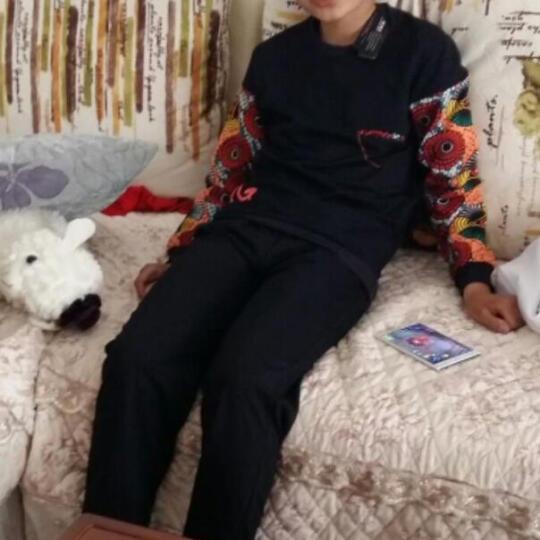 童装男童套装春装两件套2017新款儿童套装中大童校服网格拼接带帽套装校服班服表演服套装 荧光绿 140码建议身高130cm左右 晒单图