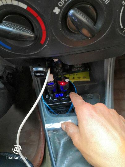 先科 车载充电器一拖二双USB带开关点烟器扩展插头 杯架式汽车电源转换器插座 多功能车充杯 升级版T01S(支持蓝牙免提和MP3音乐)蓝色 晒单图