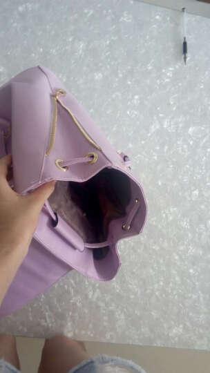 MaithBot双肩包 女时尚韩版女包潮流书包流苏吊坠背包简约包盖式女士包包 米白色 晒单图