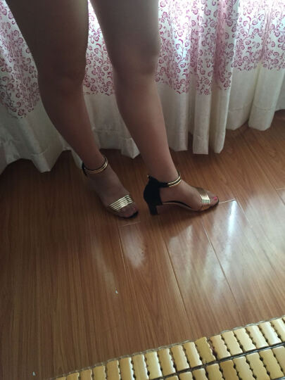 她芙 凉鞋女2017夏季新款学生坡跟高跟沙滩韩版粗跟工作鞋拉链休闲女鞋 金色 36-标准码 晒单图