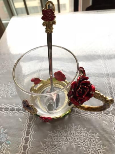 珐琅彩玻璃水杯花茶杯子果汁杯泡茶杯情侣创意实用时尚玫瑰花水晶对杯生日礼物送女友情人老婆朋友圣诞节礼品 玫瑰款矮杯+珐琅勺+礼盒礼袋 晒单图