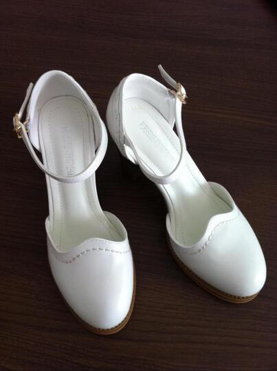 欧雅玲珑高跟鞋 冬季新款粗跟女鞋 时尚水貂毛单鞋女 漆皮上班鞋 黑色1 37标准皮鞋码 晒单图