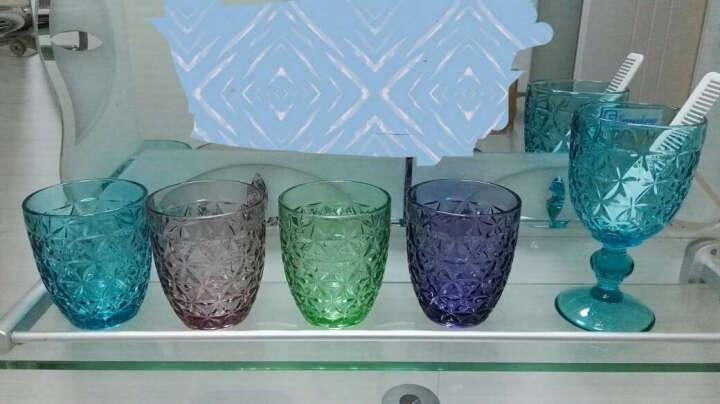 铧轩一品  透明六瓣花高脚红酒杯 300ml彩色玻璃葡萄酒杯 蓝色 晒单图