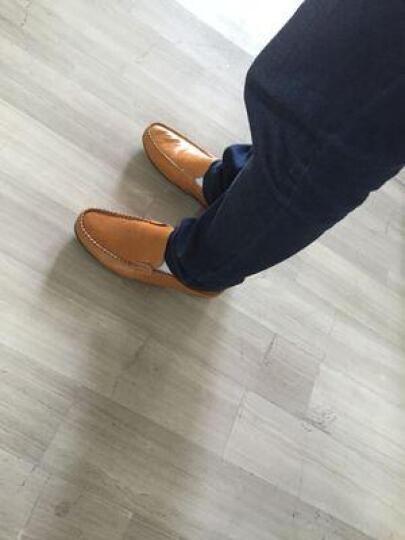 卡梅猫carme cat男鞋真皮豆豆鞋男透气休闲鞋男士商务皮鞋流行驾车鞋套脚英伦男鞋时尚潮 黑色 42码 晒单图
