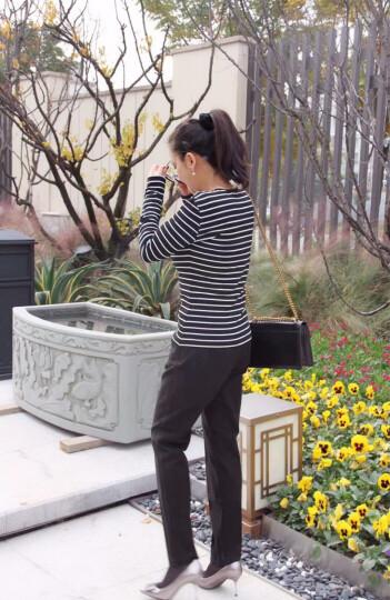 娇鼎春季黑白条纹打底衫女圆领长袖弹力百搭套头衫女针织衫显瘦针织衫女DJACE12 黑色 XXL-170/96B-6码 晒单图