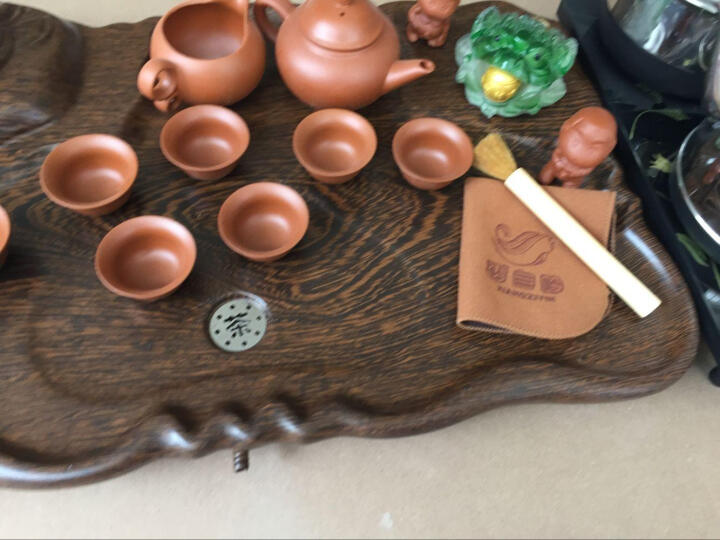 香自吟 茶具紫砂功夫套装实木压制茶盘茶海茶台整套一体式茶壶茶杯茶台陶瓷全自动电磁炉四合一 2-鸡翅金蟾青花缠枝套装(分体式) 晒单图