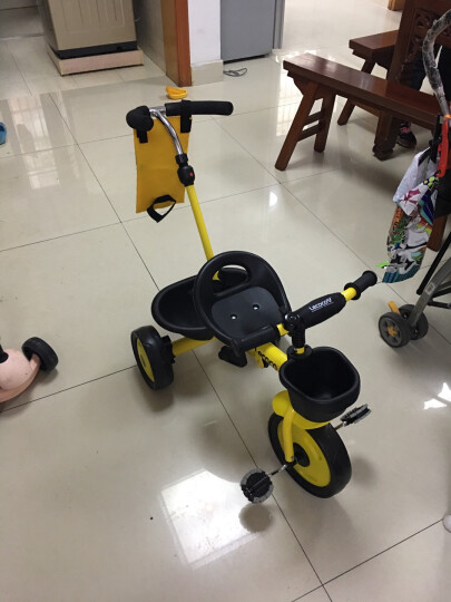 乐卡(Lecoco)儿童三轮车多功能婴幼儿童脚踏车1-3-5岁简易自行车多功能手推车 炫酷黄 晒单图