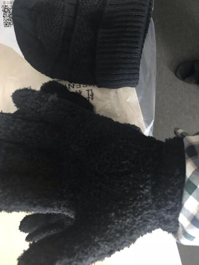 杜森纳帽子男冬2018男士毛线帽男女帽保暖加绒针织帽包头围脖棉帽子男 深灰(帽子+围脖+手套) 晒单图