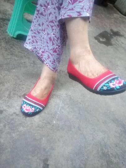枫树坪 春夏布鞋女鞋绣花鞋女款平底豆豆鞋民族风女单鞋 蓝色FLJC1301-5 35 晒单图