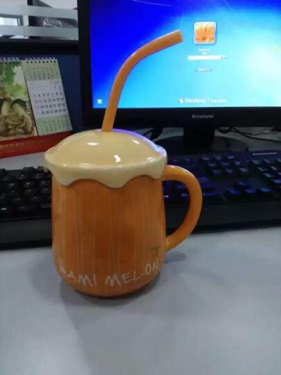 默默爱 马克杯陶瓷杯儿童水果早餐牛奶杯 情侣水杯 带盖勺吸管 西瓜 晒单图