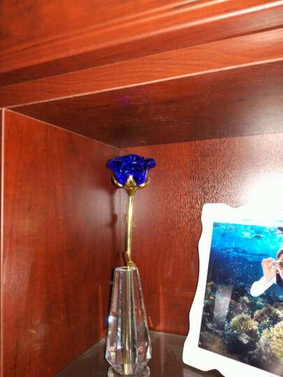 点魅 生日礼物送女友 创意合成水晶玫瑰花送老婆 创意结婚纪念日礼品摆件 蓝色盛开款+花瓶+礼盒 晒单图
