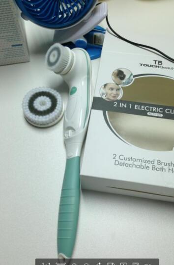 渲美(TB)电动沐浴刷 长柄洗澡刷洗浴搓背按摩刷 洗脸刷洁面刷毛孔清洁器 绿色 晒单图