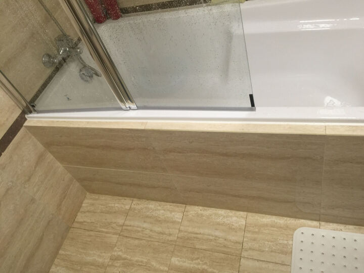 莱博顿折叠门式屏风 卫生间整体浴缸淋浴房 一字形隔断折叠钢化玻璃 定做浴室淋浴洗澡送防爆膜包送货安装 左方向+包送货安装 1200宽*1350高(银色边框) 晒单图