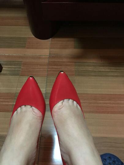 CNE 尖头复古高跟鞋细跟单鞋女羊皮高跟女鞋TCFS 6T91701 蓝色 BUK 38 晒单图