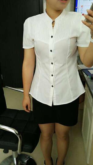 伊莉芬 2018新款职业衬衫女韩版OL女装立领衬衣修身职业装衬衣套装 028 单件白色衬衫 XXXL码 晒单图