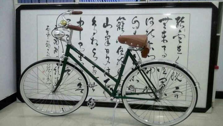 英伦风 26寸男女款复古自行车铜焊车架 复古城市通勤车代步公路自行车单车 男士绿色 晒单图