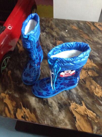 迪士尼儿童雨鞋男童女童水鞋小孩学生雨靴秋冬季中大童防滑胶鞋 经典米奇(棉) 28码/内长17.5cm 晒单图