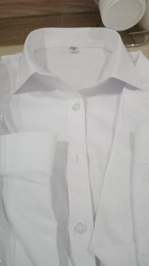 2019春季新款女士长袖衬衫女职业装商务正装修身白色V领大码工装衬衣酒店4S店工作服上衣 N2658蓝色方领 38/XL 晒单图