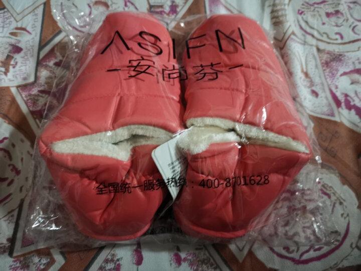 安尚芬 棉拖鞋男女防水PU皮情侣棉鞋子短低筒加厚保暖雪地靴平底 白底粉色 37-38适合36-37 晒单图