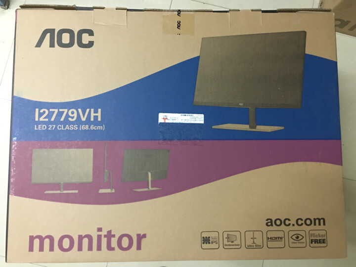 AOC 27英寸AH-IPS 广视角 窄边框 爱眼不闪屏 电脑显示器(HDMI) I2779VH 晒单图