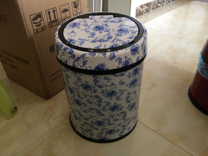 和居优品  充电智能感应垃圾桶 免脚踏翻盖不锈钢办公家用客厅卫生间自动垃圾桶大 梨花木 12升 晒单图