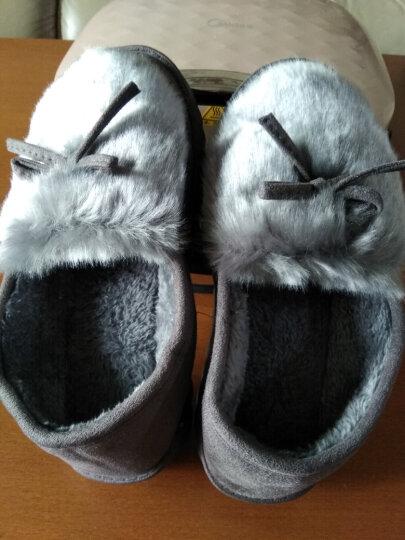 2019冬季新款家居棉拖鞋女户外豆豆棉鞋女士可爱毛拖鞋室内月子鞋休闲鞋保暖鞋冬 B-16灰色 37 晒单图