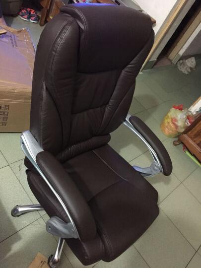 绿豆芽 可躺老板椅 电脑椅 办公椅 家用 皮椅 可选真牛皮椅子 人体工学转椅座椅D1518 咖啡色牛皮+150度可躺+搁脚 钢制脚 晒单图