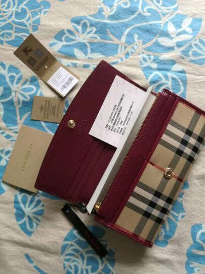 BURBERRY 巴宝莉 女款棕褐色格纹织物配皮长款钱夹 40249911 晒单图