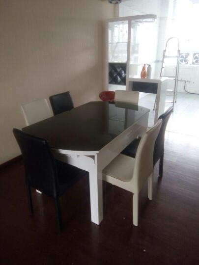 俏客 圆形餐桌餐椅套装 伸缩折叠餐桌多功能餐桌椅组合简约钢化玻璃餐桌小户型实木餐桌6人座 (1.35米)纯白色桌面(内置电磁炉) 一桌六椅 晒单图