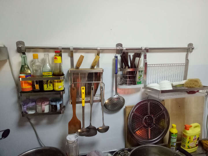 HAOFANGBIAN 不锈钢厨房置物架 壁挂可免打孔墙上刀具砧板调味碗碟子收纳架储物架 不锈钢R款 晒单图