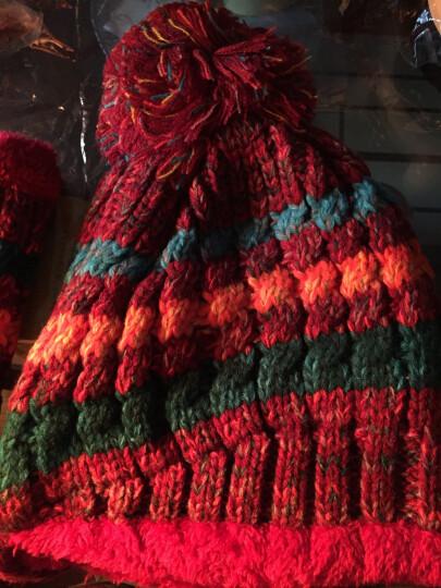 LOVEBBF.WLP&GYF 秋冬可爱撞色毛球帽 女士毛线帽子女 保暖加绒加厚针织帽 套头滑雪帽 MZ-75-红色(套装) 晒单图