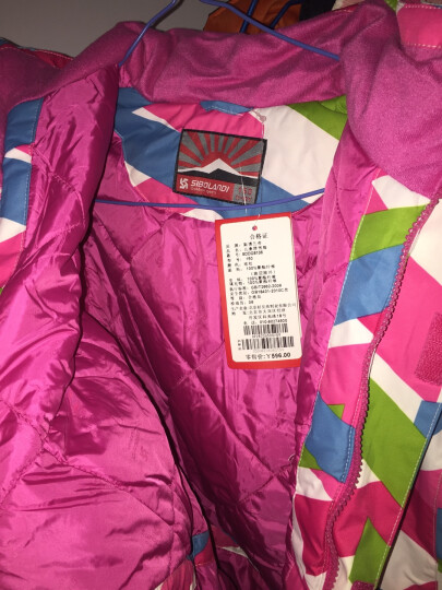 斯博兰帝冬季儿童滑雪服 女童款滑雪衣 加厚保暖女孩户外防寒服 玫红色 150 晒单图