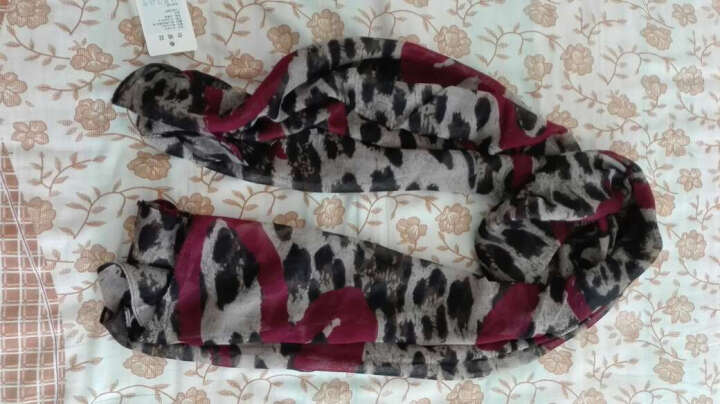 猛斯克(MSEK) WSJ131001女士丝巾 韩版巴厘纱纱巾空调披肩 爱心豹纹酒红色 晒单图