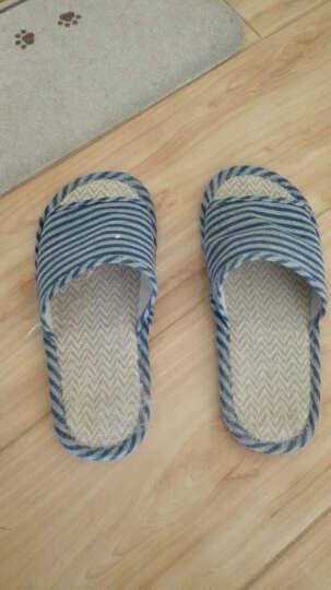 乐荔 家居亚麻拖鞋 时尚条纹深蓝色   男款 42-43码 晒单图