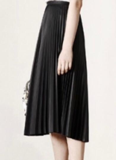 MOCO中长款过膝纯色拉链复古PU皮百褶半身裙MA1631SKT02 R57酒红色 L 晒单图
