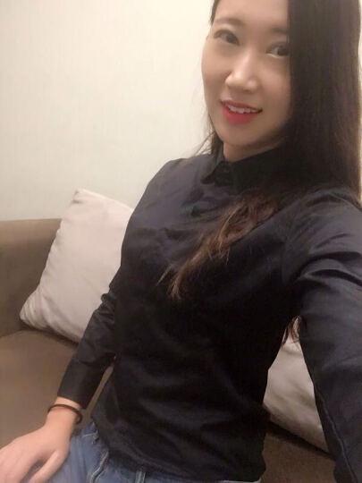 沐晴轩 2021新款春秋冬韩版大码女装打底职业装长袖白衬衫女学生衬衣 黑色长袖103款 M 晒单图