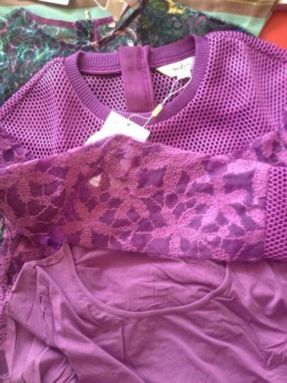 tune tune 秋季新款欧根纱绣花时尚网眼布两件套蕾丝衫女上衣 T43206 深紫色 XS 晒单图
