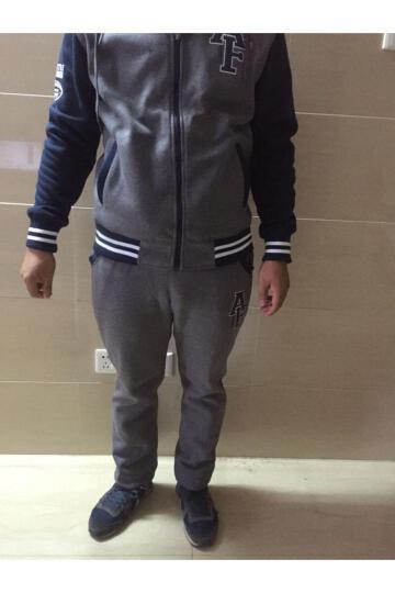 魅冰运动套装男士短袖长裤2017夏季健身运动服休闲套装跑步服大码运动衣 深灰色 3XL/185 晒单图